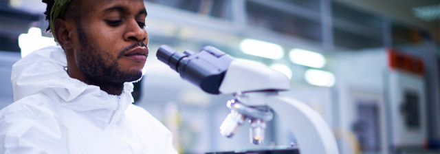 Scientist in lab looking at a microscope