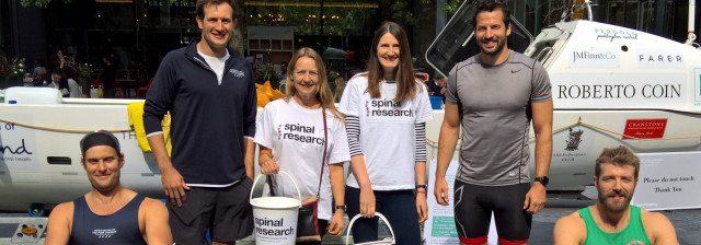 The Four Oarsmen Spinal research collection tins sponsored row
