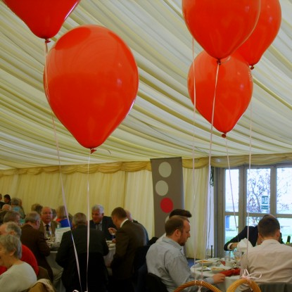 Inside the marquee at Wetherby Racecourse
