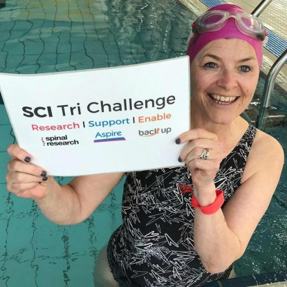 Sarah Dickinson in pool, SCI Tri Challenge