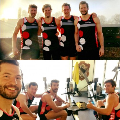 Rowers practising for fundraising