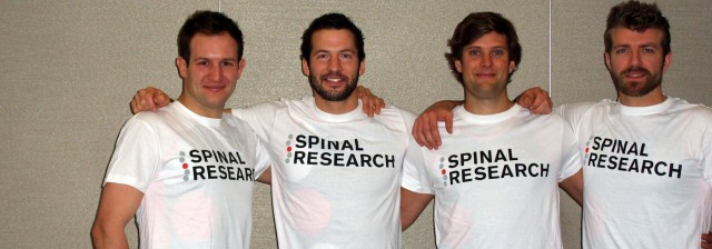 The Four Oarsman trying out their t shirts