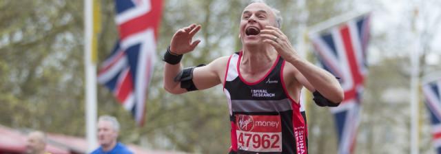 Runner crossing the finishing line